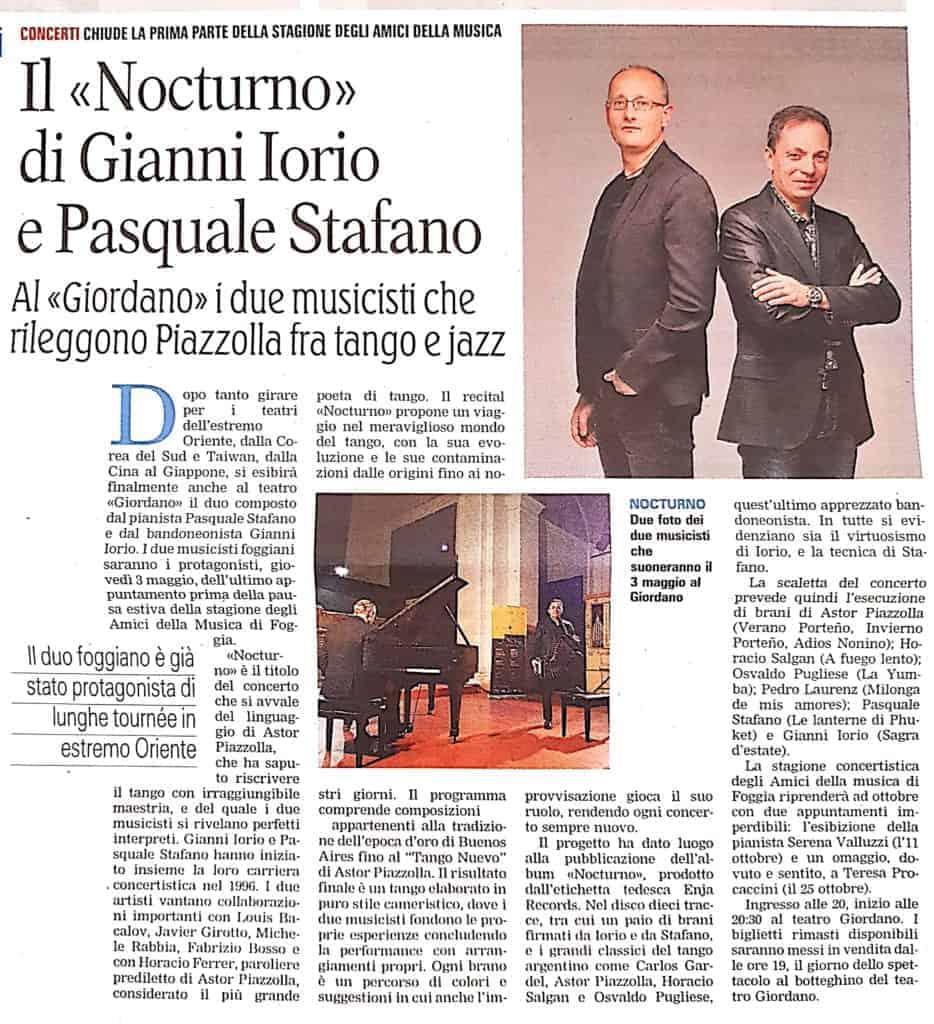 Pasquale Stafano - La GAzzetta del Mezzogiorno - Concerto al Teatro Giordano