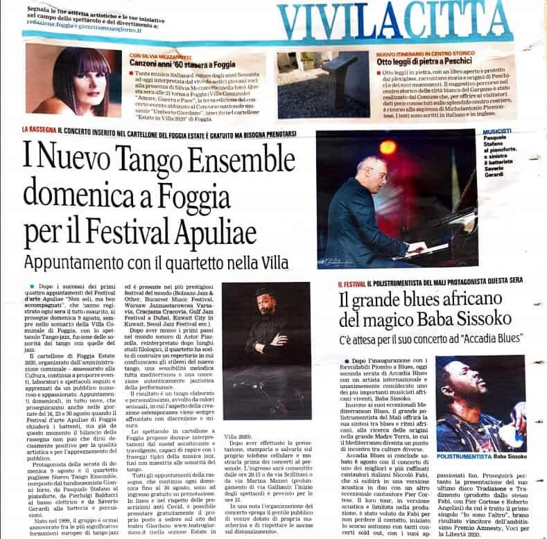 Pasquale Stafano - La Gazzetta del Mezzogiorno del 7 agosto 2020