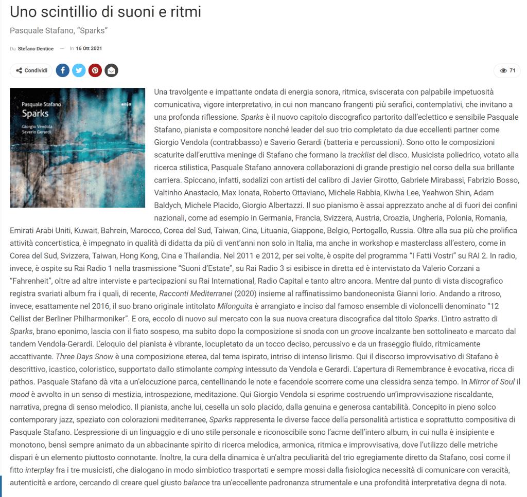 Sparks - Pasquale Stafano -Recensione di Stefano Dentice Strumenti & Musica Magazine